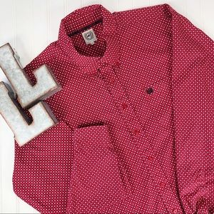 Cinch Red Print Cotton Long Sleeve Button Down